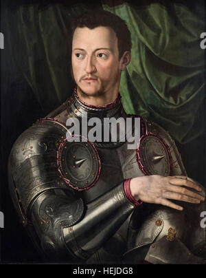 Bronzino - Agnolo di Cosimo di Mariano (1503-1572),  Portrait of Cosimo I de' Medici in Armour, ca. 1545. Cosme - Stock Photo