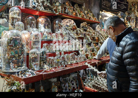 Naples, Italy - December 9, 2016: The Christmas holiday atmosphere in the heart of the city. San Gregorio Armeno, - Stock Photo
