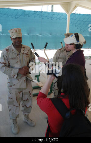 GUANTANAMO BAY, Cuba – Members of Spain's Telecinco and Public Radio International interview the Joint Task Force - Stock Photo