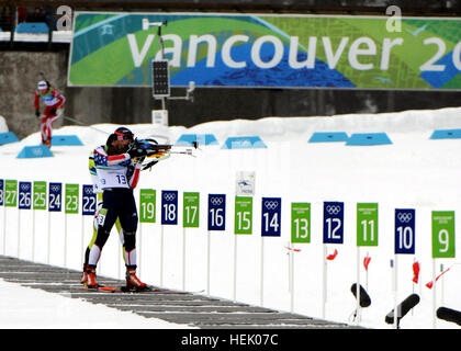 U.S. Army World Class Athlete Program biathlete Sgt. Jeremy Teela shoots to a ninth-place finish in the Olympic - Stock Photo