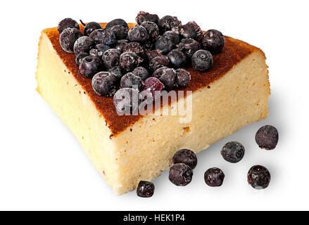 Cottage cheese casserole with frozen blueberries isolated on white background - Stock Photo