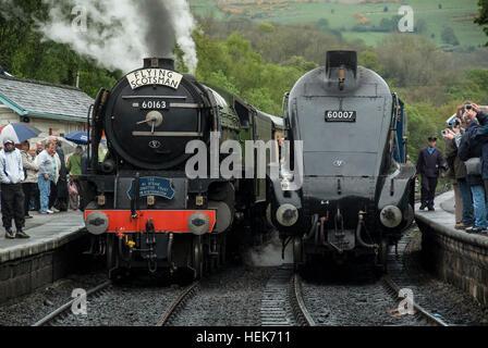 Locomotives, Tornado and Sir Nigel Gresley at Grosmont Station, North Yorkshire Moors Railway, England UK - Stock Photo