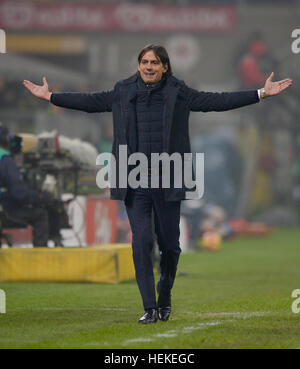 Milan, Italy. 21st Dec, 2016. Simone Inzaghi, head coach of SS Lazio, gestures during the Serie A football match - Stock Photo