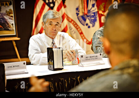 The honorable John McHugh the 21st United States Secretary of the Army listens to soldiers competing in the 2011 - Stock Photo