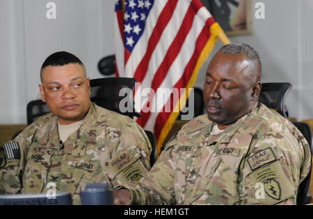 U.S. Army Command Sgt. Maj. Terry Gardner (right), command sergeant major of the 4th Brigade Combat Team (Airborne), - Stock Photo