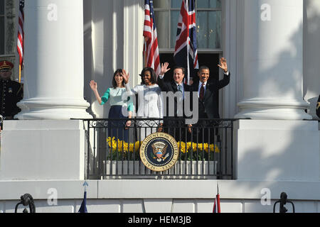President Barack Obama and first lady Michelle Obama along with David Cameron, M.P. Prime Minister of the United - Stock Photo