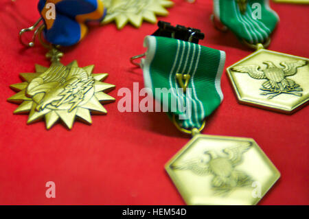 The Army Commendation medal with 'V' device. The 'V' device signifies valorous actions in direct contact with an - Stock Photo
