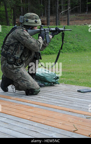 Polish army Warrant Officer 1 Artur Andrzejewski fires his M16A2 rifle during an Operational Mentor Liaison Team - Stock Photo
