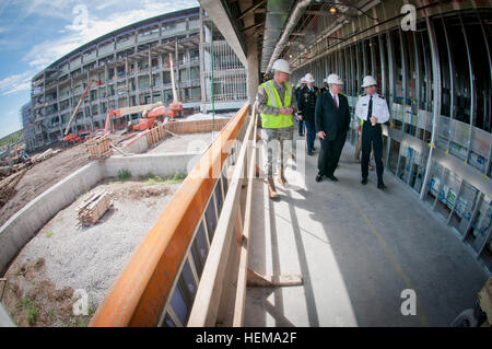 Under Secretary of the Army Joseph W. Westphal visits the construction site of a new hospital being built on Fort - Stock Photo