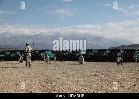 Afghan Border Police (ABP) officers halt and take a knee after following the hand signal to do so during an exercise on using hand signals at an ABP base in Jaji district, Paktia province, Afghanistan, Nov. 1, 2012. U.S. Soldiers with Alpha Company, 1st Battalion, 187th Infantry Regiment, 3rd Brigade Combat Team, 101st Airborne Division (Air Assault) conducted a review over hand signals with the ABP to better facilitate joint U.S. Army and ABP operations. (U.S. Army photo by Spc. Jenny Lui/Released) Informal meeting Afghan Border Police base 121101-A-TT389-042