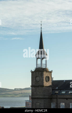 Detail of Stair Tower,bellcote and spire of Upper Dens Mill, now residential housing, Dundee, Scotland,UK, - Stock Photo