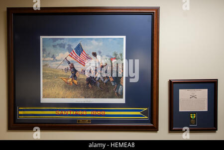 Buffalo Soldier prints, by famed historical artist Dale Gallon, hang in the U.S. Army Reserve Command Headquarters - Stock Photo