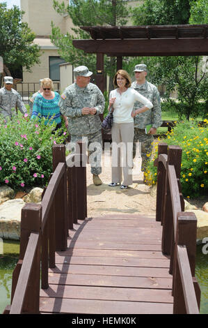 Jeanne Chandler, wife of Sgt. Maj. of the Army Raymond F. Chandler III, admires the reflecting pool of the Comprehensive - Stock Photo