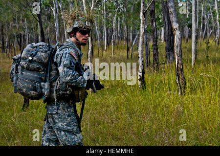 U.S. Army Sgt. Robert Ward, a squad leader with Apache Company, 1st Battalion, 501st Infantry Regiment, 4th Infantry - Stock Photo