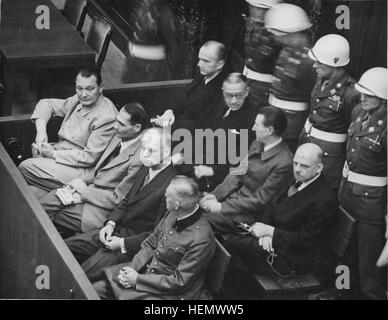 Landscape Defendants in the dock at the Nuremberg Trials - Stock Photo