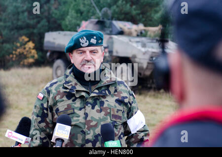 Polish army Brig. Gen. Andrzej Tuz, commander, 12th Mechanized Brigade and directer, land forces component for Exercise - Stock Photo