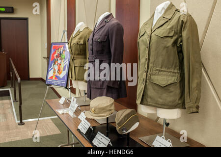 Women's Army uniforms and hats on display during a Women's History month presentation by Maj. Gen. Marcia M. Anderson, - Stock Photo