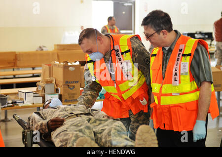 A U.S. Army nurse from Madigan Army Medical Center communicates with a simulated patient during Operation Alaska - Stock Photo