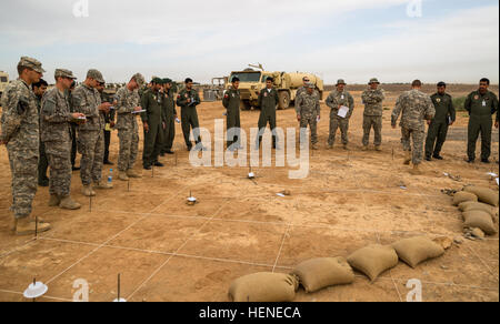 U.S. Army  soldiers from the 42nd Combat Aviation Brigade (CAB) and Royal Saudi Land Forces soldiers from 1st Battalion, - Stock Photo