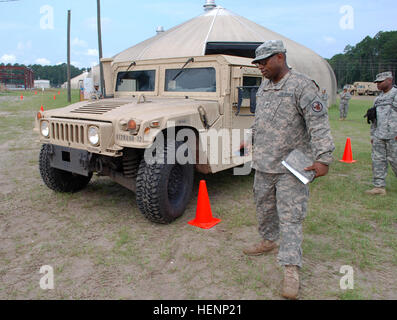 U.S. Army Staff Sgt. Rahsaan O. Christopher of Charlotte, N.C., a squad leader with the 991st Transportation Company, - Stock Photo
