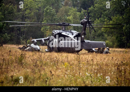 American paratroopers and Estonian soldiers exit a UH-60 Black Hawk Helicopter from the 12th Combat Aviation Brigade - Stock Photo