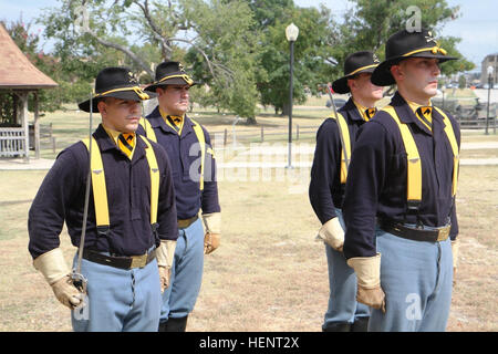 Members of the 1st Cavalry Division Honor Guard prepare to execute a saber presentation during the 1st Air Cavalry - Stock Photo