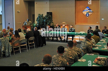 The U.S. Army Alaska Command Sgt. Maj. Terry Gardner makes his remarks as guest speaker at the Non-Commissioned - Stock Photo