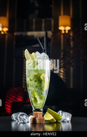 Mojito Cocktail on black background - Stock Photo