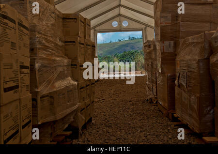 Medical supplies stored inside one of the units at the Voinjama forward logistics base, Liberia, Dec. 9, 2014. This - Stock Photo