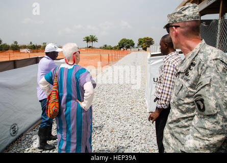 Deborah Malac, left, the U.S. ambassador to Liberia, and Maj. Gen. Gary Volesky, right, commander of Joint Forces - Stock Photo