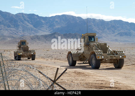 Two Husky (Vehicle Mounted Mine Detection) Systems with B Company, 6th Brigade Engineer Battalion, 4th Brigade Combat - Stock Photo