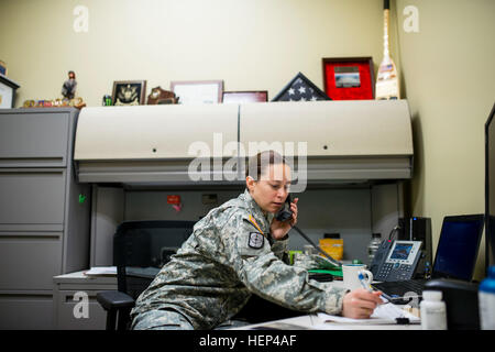First Sgt. Raquel Steckman, Army Reserve first sergeant for the 374th Engineer Company (Sapper), Concord, Calif., - Stock Photo