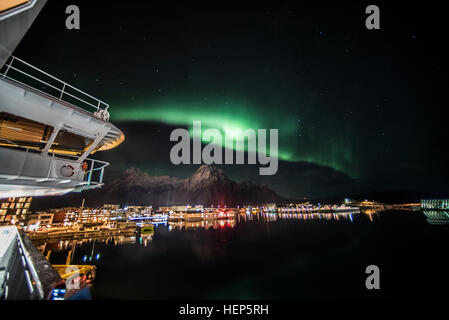 Northern Lights, Aurora,borealis, display over the Hurtigruten coastal steamer sailing through the Lofoten Islands, - Stock Photo