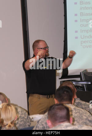 University of Missouri Law Enforcement Training Institute instructor and academy coordinator Adam Duncan gets animated - Stock Photo