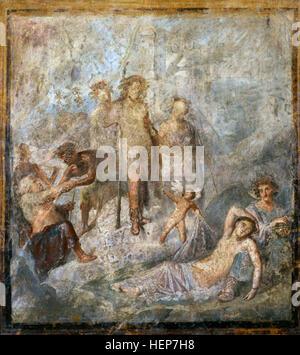 Roman fresco. Dionysus discovering the sleeping Ariadne. House of the Coloured Capitals, Pompeii, 1st century BC. - Stock Photo