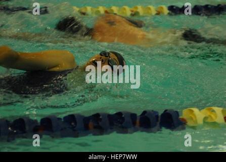 COLORADO SPRINGS, Colo. - Veteran Ashley Crandall from Salt Lake City, Utah, swims a lap during training on May - Stock Photo