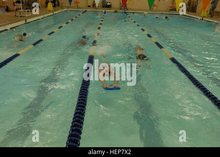COLORADO SPRINGS, Colo. - Soldiers on the Army swimming team take laps during training on May 8, 2013 in preparation - Stock Photo