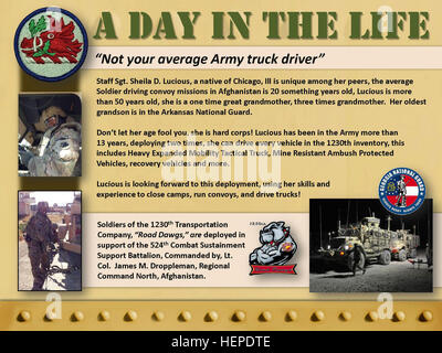 Panel Two - 'A Day in the Life,' Staff Sgt. Sheila D. Lucious, a native of Chicago, 3rd squad team leader, truck - Stock Photo