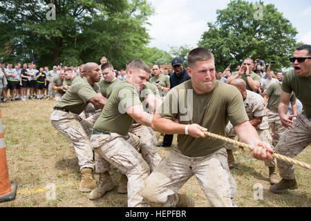 Marines and Soldiers compete in a final tug-of-war during the Second Annual Joint Base Myer-Henderson Hall/3rd U.S. - Stock Photo