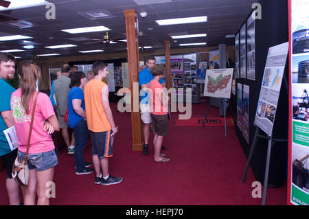 Visitors look at displays about the U.S. Army Corps of Engineers Nashville District, Great Lakes and Ohio River - Stock Photo