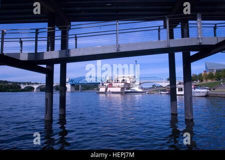 The Motor Vessel Mississippi is docked at Ross's Landing in Chattanooga, Tenn., Aug. 8, 2015. The M/V Mississippi - Stock Photo