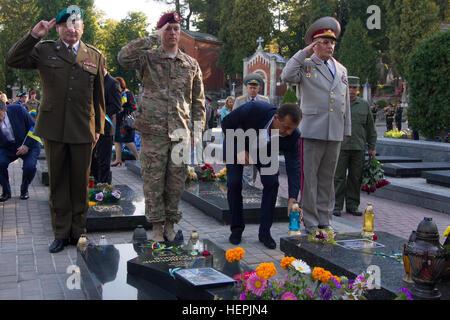 (From left) Polish Armed Forces Brig. Gen Mariusz Wiatr, U.S. Army Maj. Jason Honeycutt and Ukrainian Armed Forces - Stock Photo