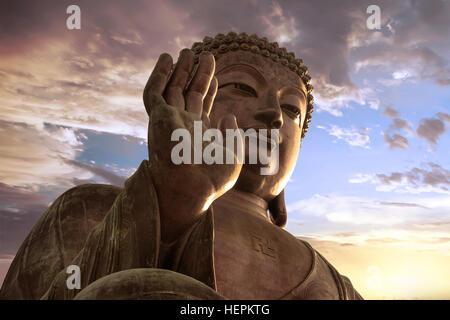 Tian Tan Buddha at Ngong Ping, Lantau Island, Hong Kong - Stock Photo