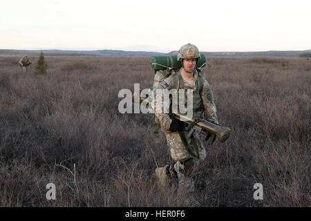A paratrooper with 1st Battalion, 501st Parachute Infantry Regiment, 4th Infantry Brigade Combat Team (Airborne), - Stock Photo