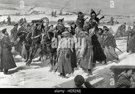 Russo-Japanese War (1904-1905). Russian troops. Engraving. - Stock Photo