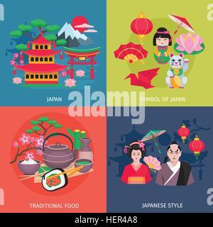 Japanese Symbols 4 Flat Icons Square. Japanese style kimono and traditional food symbols 4 flat icons square colorful - Stock Photo