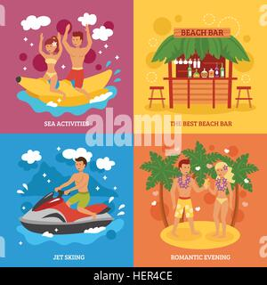 Beach icons set. Beach design concept set with flat sea activities icons isolated vector illustration - Stock Photo