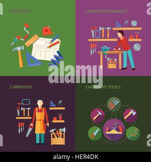 Carpentry Flat Icons Set. Carpentry works flat icons set composition design with tools carpenter joinery products - Stock Photo