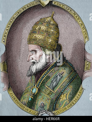 Pope Saint Pius V (1504-1572). Pope from 1566-1572. Portrait. Engraving, 1884. Later colouration. - Stock Photo