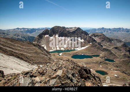 hiking path, mountain lake, trekking, water, effort, GR11, tourism, alpine tour - Stock Photo